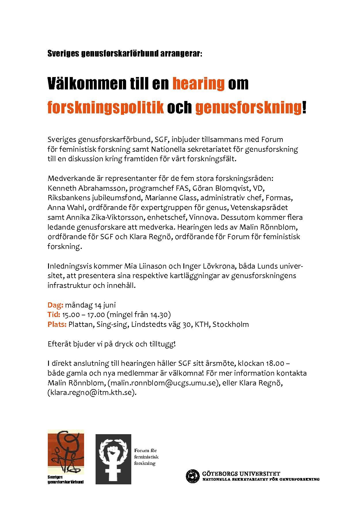 Hearing om forskningspolitik och genusforskning 14/6 2010